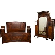 King Bedroom Set With Armoire 6671 Art Nouveau Majorelle Bed Armoire And Pair Of Nightstands