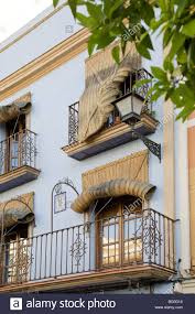 Seville Curtains Balcony Of A House With Roll Up Curtains Seville Andalusia