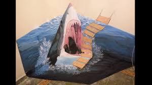3d shark mural art wall painting 3d youtube 3d shark mural art wall painting 3d