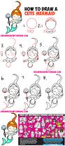 how to draw a cute cartoon mermaid kawaii with easy step by step