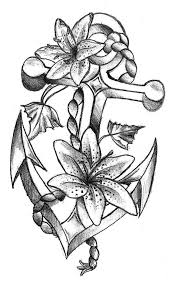 anchor and flowers tattoo design see more by clicking the