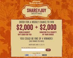 share the joy worldmarketsweepstakes com sweepstakes directory
