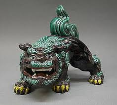 lion dog statue japanese kutani shishi foo lion dog okimono statue shishi and