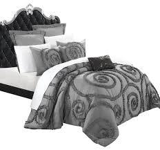 rosalia grey ruffled applique king 7 comforter bed in a bag