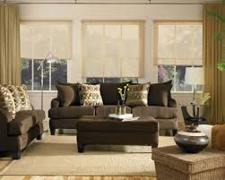 Cozy Living Room by Brown Platic Blind Windows Curtain Cozy Living Room Ideas For