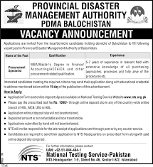provincial disaster management authority pdma balochistan jobs