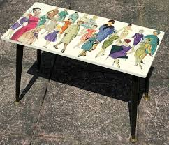 upcycled vintage coffee side table 1950 u0027s pin up ladies fashion