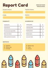 preschool report card template yellow with colorful pencils preschool report card templates by
