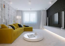 living room l shaped striped pattern yellow sectional interior