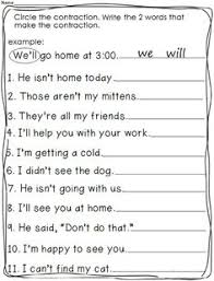 first grade contraction worksheets google search projects to