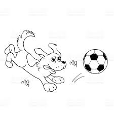 best free coloring page outline of cartoon dog with soccer ball