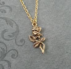 leaf charm necklace images Rose necklace small rose jewelry gold necklace jpg