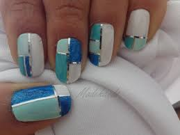 color block nail art diseño de uñas collage striping tape