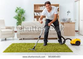 Cleaning House Man Husband Cleaning House Helping Wife Stock Photo 552229774