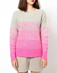 asos knitted cable sweater in ombre in pink lyst