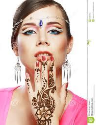 henna makeup woman henna on stock photography image 33360462