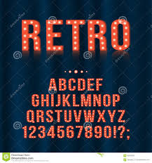 retro vintage light bulb alphabet letters and numbers for