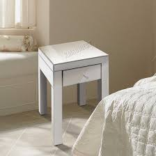 foxhunter mirrored furniture glass bedside cabinet table with