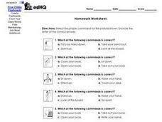 homework worksheet esl commands 3rd 4th grade worksheet