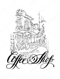 vector sketch of old street coffee shop callighaphy inscription