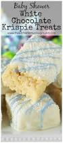 baby shower white chocolate dipped rice krispie treats the