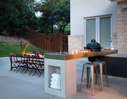 concrete outdoor kitchen overview and gallery with cinder block