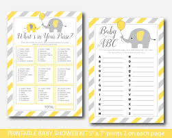 yellow elephant baby shower games kit yellow baby shower activity
