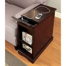 side table with power outlet 1 cabinet w 2 shelves wooden side table w built in usb and power