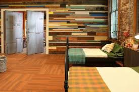 bedroom large colorful bedroom reclaimed wood wall brick exposed