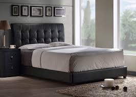 Leather Tufted Headboard Bedroom Cool Black Leather Like Vinyl Upholstered Button Tufted