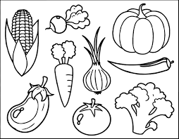 preschool fruit and vegetable coloring pages with printable fruits