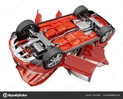 porte aperte auto auto suv rosso con porte aperte hanno visualizzati dal basso