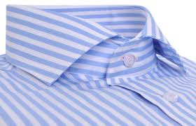 non fitted sky blue striped shirt pink buttonhole regular fit