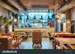 glowing interior loft style mexican restaurant stock photo