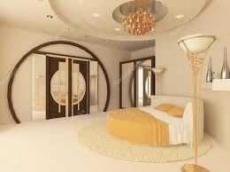 Luxurious Bedroom Round Bed In A Luxurious Bedroom With A Suspended Ceiling U2014 Stock