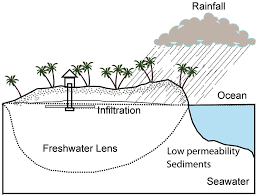 impact on a freshwater lens in atoll environments under different