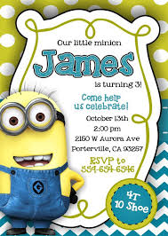 minion birthday invitations printable ideas despicable me invite