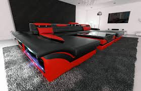 big sectional sofa monza u shaped with led lights black red ebay