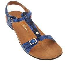 vionic orthotic t strap sandals with adjustable straps isla