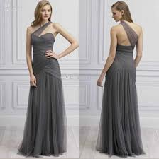 gray bridesmaid dress grey one shoulder tulle a line floor length ruffled 2015