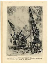 1916 ww1 print munitions factories forge cranes drawn by joseph
