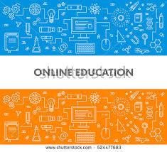 design online education line design concept web banner online stock photo photo vector