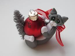 polymer clay cat christmas ornament gray tuxedo figurine