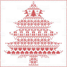 nordic style christmas tree shape stitch pattern in red white