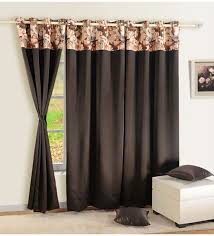 Chocolate Curtains Eyelet Buy Chocolate Brown Faux Silk Solid Blackout Eyelet Curtain By