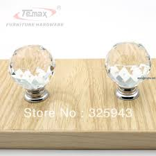 Replacement Bedroom Furniture Drawer Pulls 2x40mm Clear Round Glass Cabinet Drawer Crystal Knobs And Handles