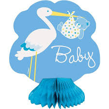 stork baby shower mini honeycomb blue stork baby shower decorations 4pk walmart