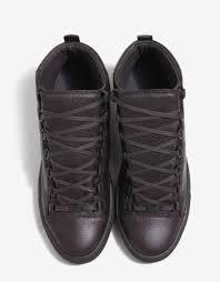 balenciaga brun fonce grain leather high top trainers