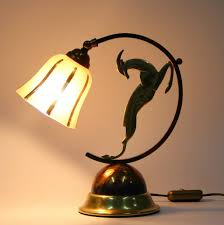 Brass Colored Desk Lamp Art Deco French Brass Copper And Bronze Table Lamp For Sale At