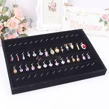necklace storage display images Black velvet leather earrings frame wheel stud earring earrings jpg